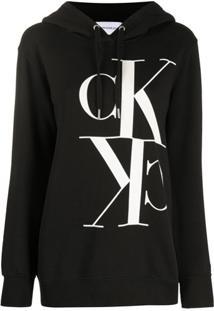 Calvin Klein Jeans Blusa De Moletom Monogramada Com Capuz - Preto