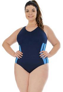 Maiô Hidroginástica Plus Size Com Touca Azul