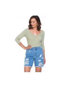Bermudão Jeans Lúcia Figueredo Modelagem Confort Destrouyed Azul