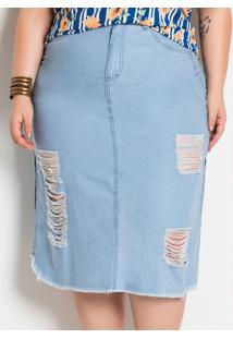Saia Longuete Destroyed Jeans Clara Plus Size