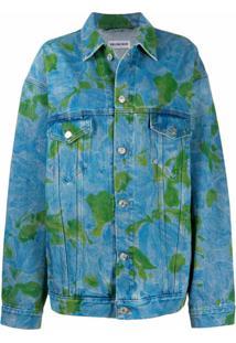 Balenciaga Jaqueta Jeans Com Estampa Abstrata - Azul