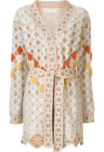 Peter Pilotto Cardigan Trespassado Com Cinto - Neutro