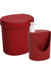 Kit Pia Lixeira 2, 5L Dispenser Coza Vermelho Bold Coza