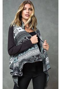 Kimono Tricot Estampa Geométrica Cinza