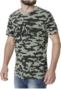 Camiseta Manga Curta Masculina Camuflada - Masculino-Camuflado