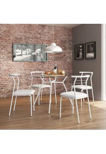 Mesa 1527 Vidro Incolor Com 4 Cadeiras Color 1708 Branca Carraro