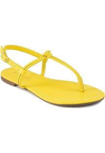 Sandália Rasteira T-Stripe 2020 Via Uno 127222 Feminina - Feminino-Amarelo