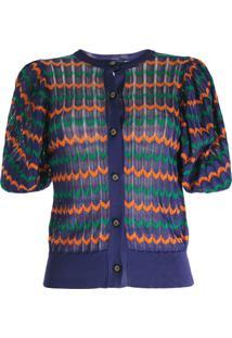 Kolor Cardigan Com Padronagem Geométrica - Roxo
