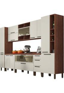 Cozinha Modulada Completa 11 Peças Viv Concept C09 Off White/Nogueira