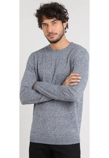 Suéter Masculino Básico Em Tricô Azul Marinho