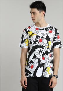 Camiseta Masculina Frajola E Piu Piu Estampada Manga Curta Gola Careca Off White