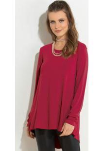 Blusa Vermelha Modelo Mullet Com Mangas Longas
