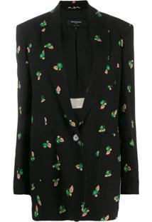 Rochas Blazer Com Estampa Floral - Preto