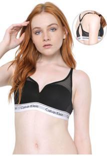 Sutiã Calvin Klein Underwear Triângulo Mesh Modern Preto