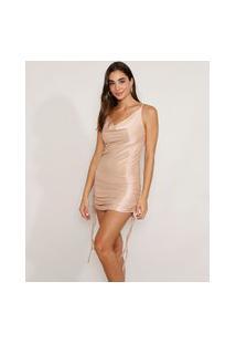 Vestido Feminino Slip Dress Curto Acetinado Com Franzido E Amarração Alça Fina Bege