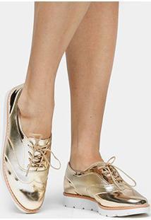 02ffee3241 ... Oxford Shoestock Flatform - Feminino-Dourado