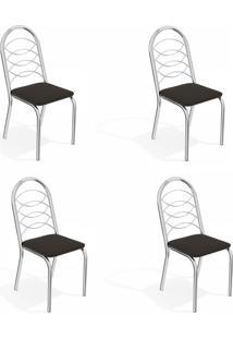 Conjunto Com 4 Cadeiras De Cozinha Holanda Cromado E Preto