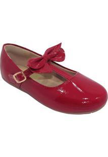 Sapato Boneca Em Couro Com Laã§O - Vermelhatoke