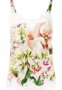 Dolce & Gabbana Blusa Com Estampa Floral E Acabamento Em Renda - Rosa