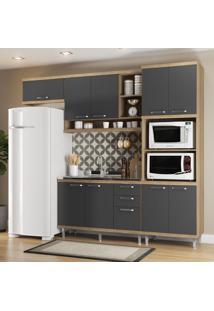 Cozinha Compacta 9 Portas 3 Gavetas Sicilia 5828 Premium Argila/Grafite - Multimóveis