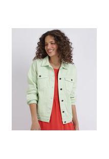 Jaqueta De Sarja Feminina Com Bolsos E Botões Barra Com Elástico Verde Claro