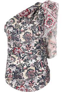 Isabel Marant Étoile Blusa Assimétrica Floral - Branco
