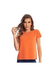 Camiseta Feminina Estonada Malha Premium Cenoura - Area Verde