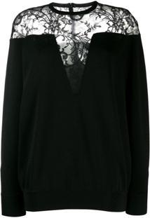 Givenchy Suéter Com Recorte De Renda - Preto