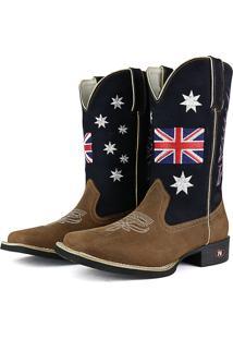 Bota Country Sapatofran Texana Rebento Bico Quadrado Inglaterra Azul-Marinho