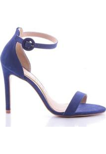 Sandália Miriam Paula Brazil Couro Feminina - Feminino-Azul