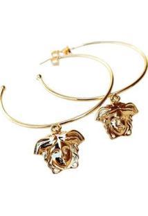Brinco Kaka Corrêa Argola Grande Medusa - Feminino-Dourado