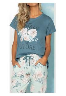 Pijama Longo Floral Pzama (100015) 100% Algodão