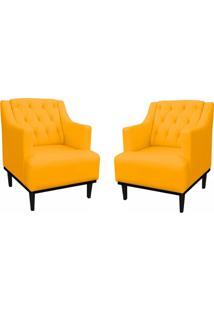 Kit 02 Poltronas Decorativa Clã¡Ssica Capiton㪠Suede Amarelo - Ds Mã³Veis - Amarelo - Dafiti