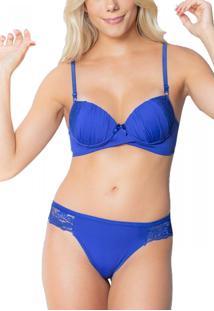 Conjunto Click Chique Lingerie Sexy Em Microfibra Com Renda Azul