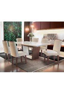 Conjunto De Mesa De Jantar Sofia Com 6 Cadeiras Estofadas Lunara Veludo Off White E Ii Creme