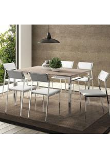 Mesa 1526 Nogueira Cromada Com 6 Cadeiras 1709 Branca Carraro