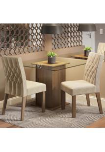 Conjunto Sala De Jantar Madesa Tati Mesa Tampo De Vidro Com 2 Cadeiras Marrom - Marrom - Dafiti