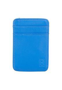 Carteira Couro Calvin Klein Cartão Masculina - Masculino-Azul