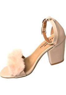 Sandália Butique De Sapatos Pelinho Nude