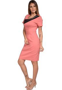 Vestido Pirony Saia Rosé Blusa Em Couro Marfim/Preto Ref. 116508-4