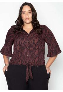 Camisa Almaria Plus Size Leeban Animal Print Roxo