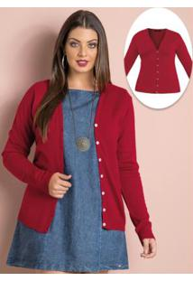 Cardigan De Tricô Vermelho Plus Size