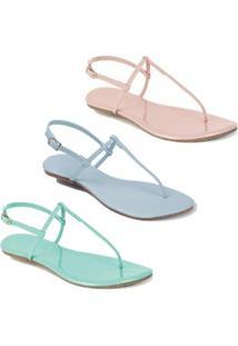 Kit Rasteira Mercedita Shoes Verniz Feminina - Feminino-Rosa+Azul