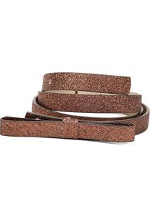 Cinto Shoestock Fino Laço - Feminino-Bronze