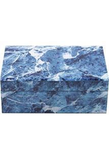 Lyor 3906, Porta Joias De Vidro Mármore, Azul E Branco, 24.5 X 17.5 X 9 Cm