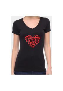 Camiseta Suffix Blusa Preta Sem Estampa Basica Gola V Estampa Coração Love