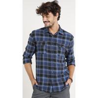 a5d7454a7 Camisa Masculina Flanela Estampada Xadrez Com Bolsos Manga Longa Azul  Marinho