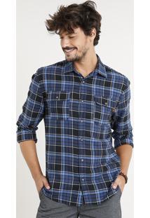Camisa Masculina Flanela Estampada Xadrez Com Bolsos Manga Longa Azul Marinho
