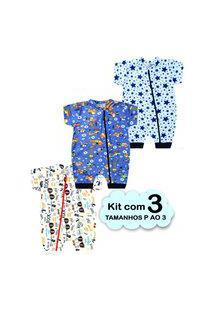 Kit 3 Macacão Bebê Menino Verão Algodão Enxoval Multicolorido