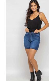 Bermuda Curta Almaria Plus Size Shyros Jeans Azul